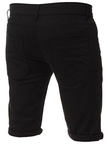 Kruze Herren Chino Shorts markiert Designer Jeans Freizeit blau schwarz rot hellbraun, neu mit Etikett - Schwarz, 40 x regular leg