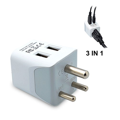 Ceptics CTU-10 USA to India, Africa Travel Adapter Plug With Dual USB - Type D - Ultra Compact...