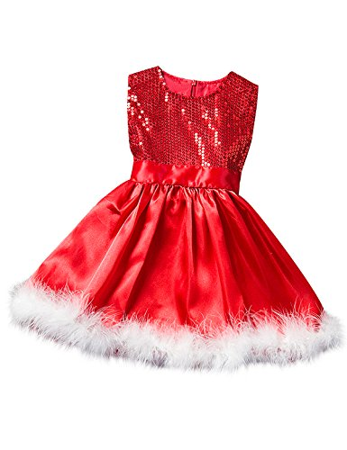 Pageant Wear Christmas (NNJXD Girl Sleeveless Round Neck Sequins Formal Casual Dress Size 5-6 Years)