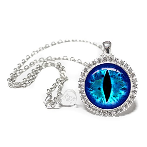 Studded Bezel - Running With Scissors Blue Dragon Eye Glass Tile Cameo Necklace