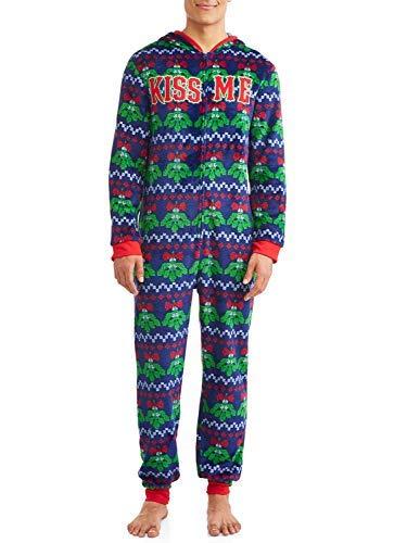 Dec 25th Mistletoe Mens Ugly Christmas Sweater Minky Fleece Drop Seat Union Suit Pajamas (Large (42-44)), Blue