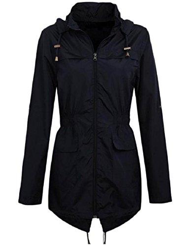 XINHEO Women's Waterproof Windproof Hood Mid-Long Zipper Jacket Coats Black
