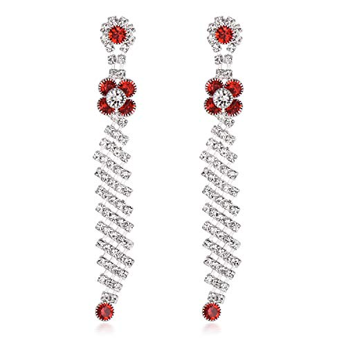 Yonhi Elegant Dangle Wedding Earrings Women Teardrop Drop Earrings Wedding Jewelry Bridal Cubic Zirconia Drop Earring Silver (Red Tassel Earrings)