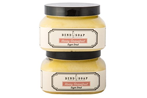 Bend Soap Company All Natural Sugar Scrub for Face and Body - Contains Cane Sugar, Coconut Oil and Olive Oil Plus Essential Oils and More - 10oz Jar - 2 Pack (Honey Grapefruit Flavor) ()