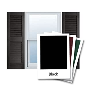 "12"" x 63"" Builders Choice Vinyl Open Louver Window Shutters, w/Shutter Spikes & Screws (Per Pair), Black"