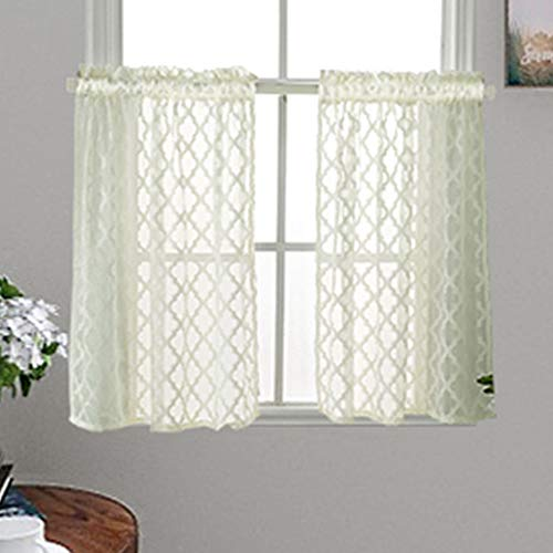 Window Sheer Curtains Small Window Sheer Curtain Tiers Rod Pocket Jacquard Pattern Sheer Curtain Drapes for Laundry Room 29x35 Inch Cream Yellow Set of - 35 Cream Inch