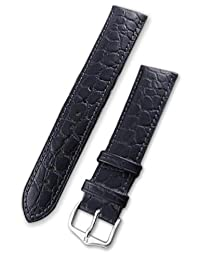 Hirsch Aristocrat Black Crocodile Embossed Leather Watch Strap 038280-50-22