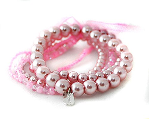 Faux Ribbon Bracelet Pearl (Multi-Strand Pink Faux Pearl Bracelet with Ribbon - Bridesmaid Jewelry)