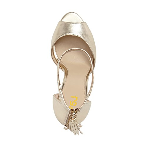 Gold Shoes Chic Stiletto Heels Size 4 Sandals Toe Fringed Strap 15 US Women Ankle FSJ Party D'Orsay Peep RUAw7Tqq8