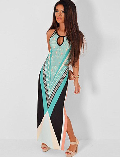 PU&PU Robe Aux femmes Moulante Sexy / Plage , Couleur Pleine Col Arrondi Maxi Polyester / Spandex , light blue-l , light blue-l