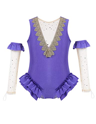 TiaoBug Kids Girls Greates Showman Ann Wheeler Costume Outfit Cape with Skirt and Wristband for Halloween Party Lavender 4-5 -