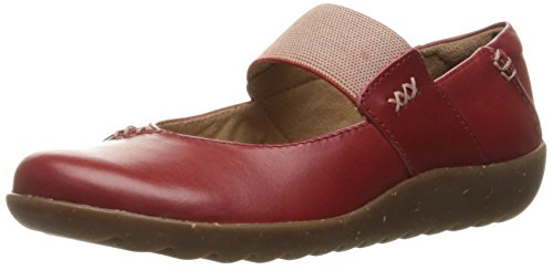 Clarks Women's Medora Elie Mary Jane Flat, Red Leather, 8 M US