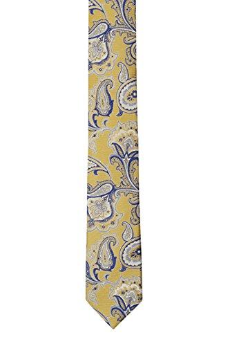 and Notch near yellow Silk pattern Men's floral blue Necktie Slim paisley Big wZqp7ngAZx