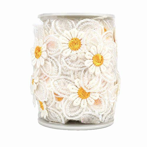 Black Menba 20 feet DIY Daisy Sun Flower Decorating Lace and Trims for Sewing and Art Craft Projects (Yellow)