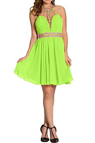 Damen Brautjunfernkleid Chiffon Ivydressing Grün Steine Linie Elegant A Abendkleid Partykleid Kurz aqTd8q