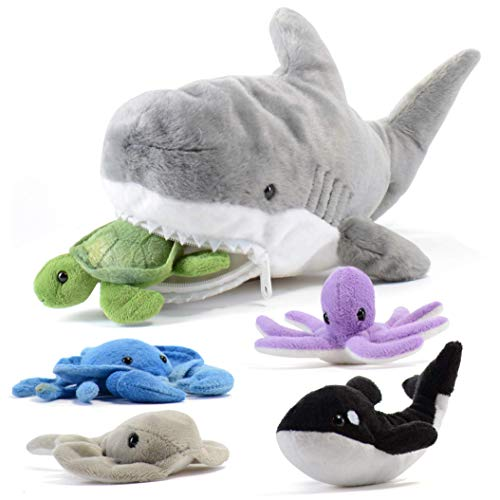 Prextex 15-Inch Plush Shark with 5 Piece Soft Stuffed Sea Animals Includes Stuffed Octopus, Crab, Turtle, Stingray, and…