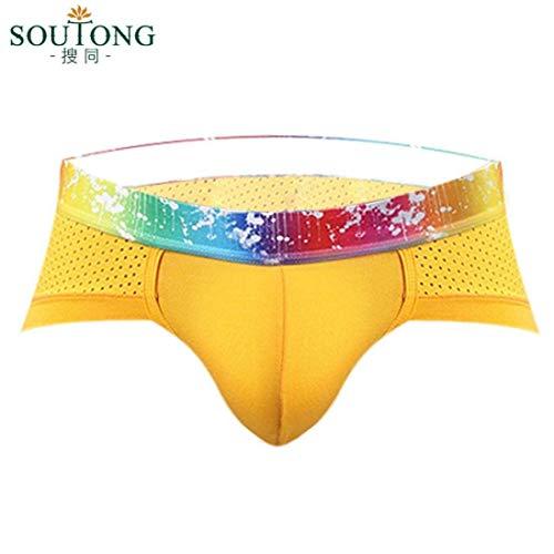 Gelb Traspirante Pantalone Vita Slip Intimo In Bassa Unico Pantaloncini Stampa Cotone Uomo xC0HwXnqP