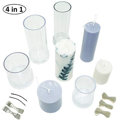 MILIVIXAY Cylinder Candle Mold Set-4PCS Pillar Candle Molds - Plastic Candle Molds for Candle Making-Candle Making Molds-120 Ft. of Wick 2 Wick Clips and 2 Metal Wick Holders Included as a Gift.