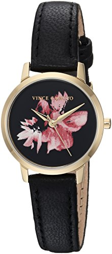 Vince Camuto Women's VC/5352BKBK Floral Pattern Dial Black Leather Strap Watch