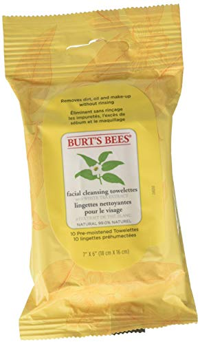 Burt's Bees Sensitive Facial Cleansing Towelettes with White Tea Extract - 6 Packs of 10 (60 Count)