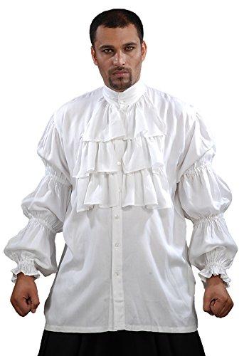 ThePirateDressing Pirate Ruffled Seinfeld Puffy Shirt (X-Large) White -