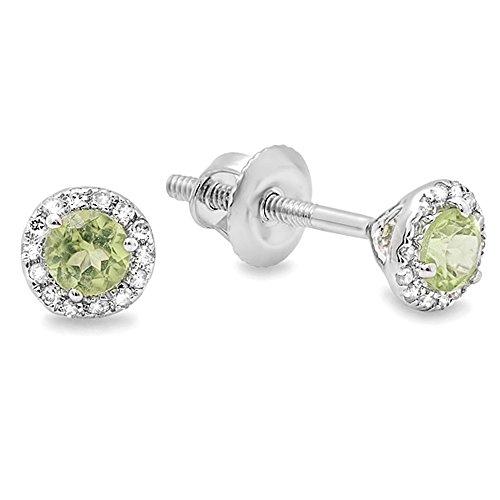 Dazzlingrock Collection 14K 3 MM Each Round Peridot & White Diamond Ladies Halo Stud Earrings, White Gold