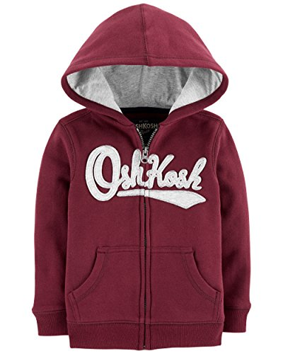 Osh Kosh Boys' Toddler Full Zip Logo Hoodie, Burgundy, 4T by OshKosh B'Gosh (Image #2)