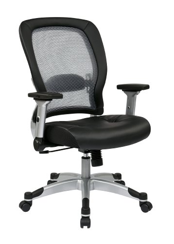 (SPACE Seating Light AirGrid Back and Eco Leather Seat, 2-to-1 Synchro Tilt Control, 4-Way Adjustable Flip Arms and Platinum Coated Nylon Base Managers)