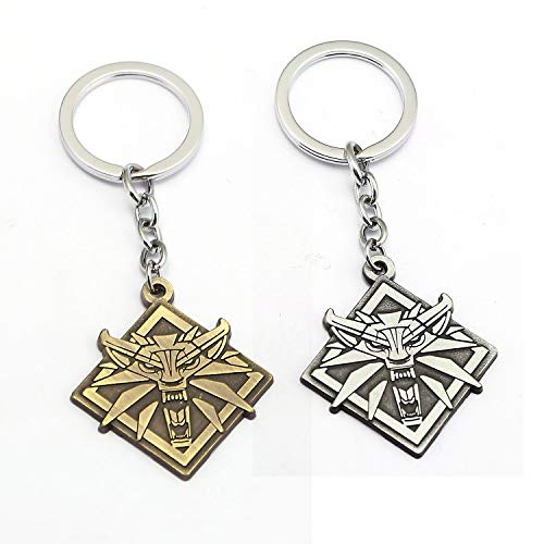 FITIONS - The Witcher 3 Keychain Wolf Head Metal Pendant ...