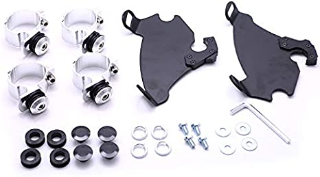 Glossy Black/& clear Motorcycle 49mm Front Gauntlet Headlight Fairing Windshield Lock Mount Kit For Harley Dyna FXDC FXDL
