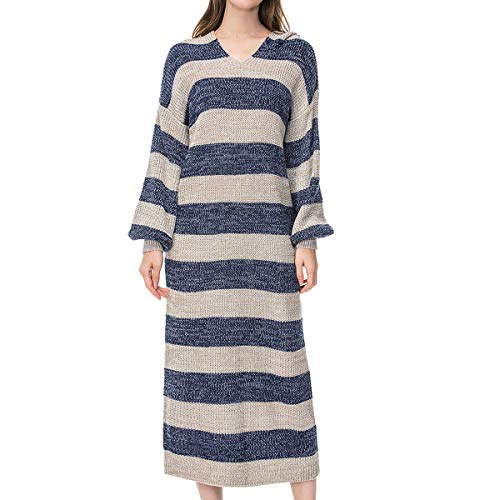 Giftu Women's Casaul Long Knitted Asymmetrical Striped Hoodie Sweater Dress (Medium-Large, Blue) ()