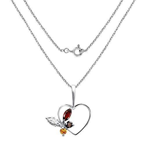 0.85 Carat Cubic Zirconia, Garnet, Smoky Quartz & Citrine Heart Sterling Silver Pendant for Women by Orchid Jewelry