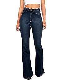 Women's Juniors Bell Bottom High Waist Fitted Denim Jeans