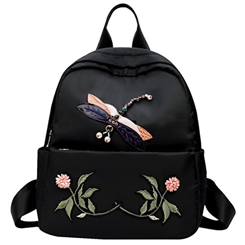 Felice Small Fashion Backpack Purses Floral Embroidery DragonFly Design Shoulder Bag School Satchel (Stuff Embroidery Designs)