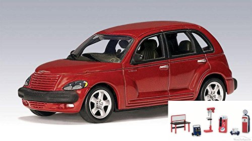 Diecast Car & Chevron Shop Tools Package - 2001 Chrysler PT Cruiser, Red - Auto Art 20062 - 1/64 Scale Collectible Diecast Replica w/Chevron Shop Tools