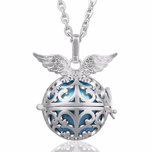 EUDORA Harmony Bola Angel Wing 20mm Prayer Bell Pendant Necklace Pregnancy Gift 30 45 Dodger Blue ()