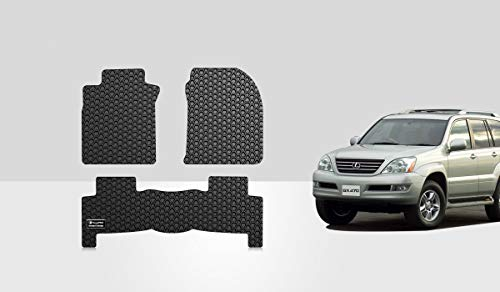 ToughPRO Floor Mats Set (Front Row + 2nd Row) Compatible with Lexus GX470 - All Weather - Heavy Duty - (Made in USA) - Black Rubber - 2003, 2004, 2005, 2006, 2007, 2008, 2009
