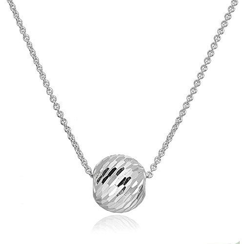 Sterling Silver 10mm Dainty Diamond-Cut Sliding Bead Necklace (10mm Sterling Silver Bead Necklace)