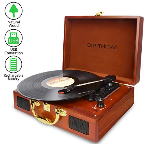 DIGITNOW! Vinyl/LP Turntable Record Player with Natural Wooden Suitcase Turntable , PC Recording Function and Rechargeable , Built-in Speakers, PC Recorder, Headphone Jack, RCA line Out to Acoustics