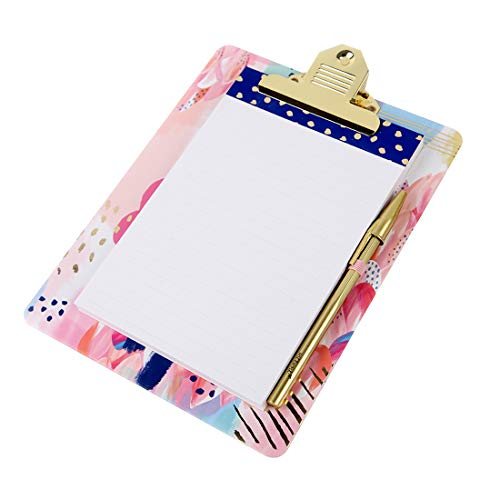 Floral Clipboard Notepad Metallic Ballpoint
