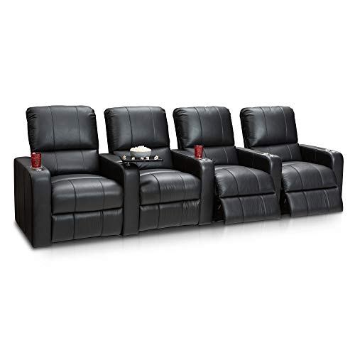 Seatcraft Millenia Home Theater Seating Manual Recline Leather (Row of 4, Black) ()