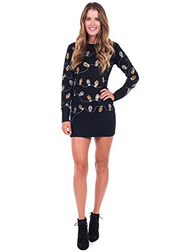 Tipsy Elves Women's Christmas Lights Ugly Sweater Dress - Black Tacky Sweater Dress: Medium