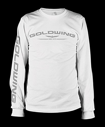 Honda Men's Gold Wing White Long-Sleeve T-Shirt, L (Honda Motorcycle Shirts)
