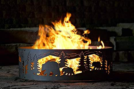 P&D Metal Works Solid Steel Campfire Fire Ring w Bears N' Cubs Cutouts (48 in. Dia.) by P&D Metal Works