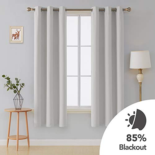 Deconovo Room Darkening Thermal Insulated Blackout Grommet Window Curtains for Bedroom Set of 2 Greyish White 42x84 Inch