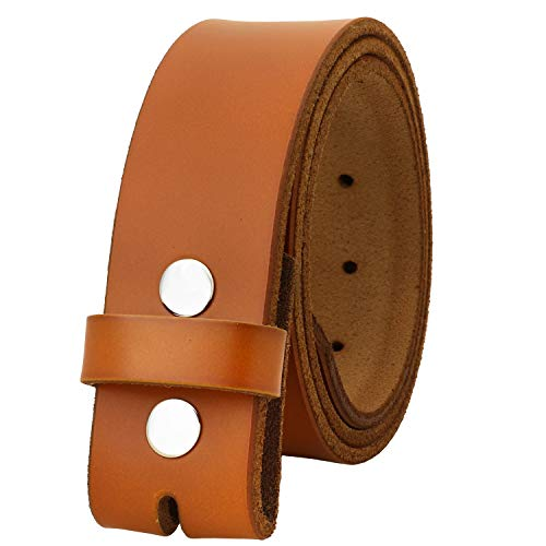 (Falari Replacement Genuine Leather Belt Strap Without Buckle Snap on Strap 1.5