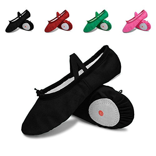 L-RUN Kids/Womens Ballet Shoes Dance Yoga Gym Performance Canvas Flats Black (Shoes Women Flat Ballet)