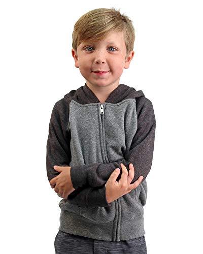 (Global Little Kids Winter Hoodie Full Zip Raglan Sleeve Light Grey Dark Grey 4T)