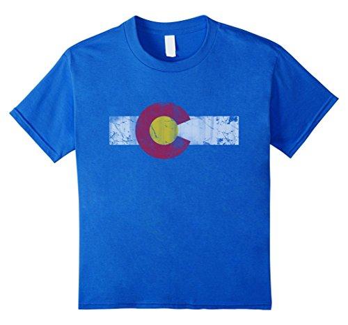 Kids Vintage Patriotic Flag Of Colorful Colorado Shirt 8 Royal Blue