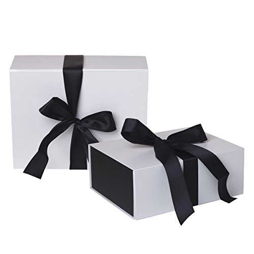 Jillson Roberts 2-Count Large Ribbon-Tie Presentation Gift Boxes Available in 4 Colors, White Matte